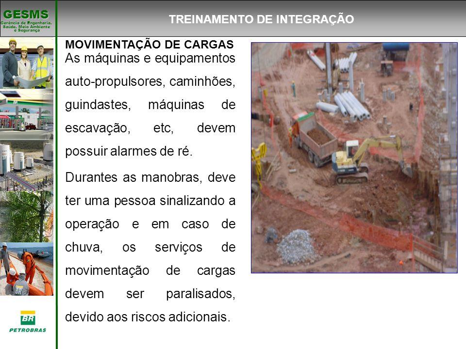 Gerência de Engenharia, Gerência de Engenharia, Saúde, Meio Ambiente e Segurança e Segurança GESMS MOVIMENTAÇÃO DE CARGAS As máquinas e equipamentos a