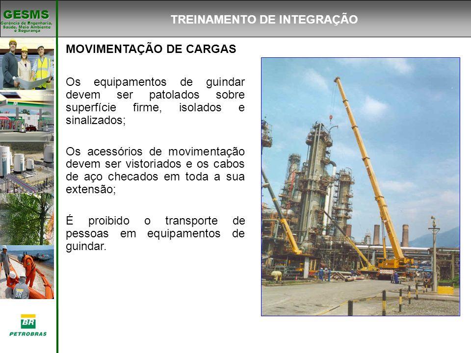 Gerência de Engenharia, Gerência de Engenharia, Saúde, Meio Ambiente e Segurança e Segurança GESMS MOVIMENTAÇÃO DE CARGAS Os equipamentos de guindar d