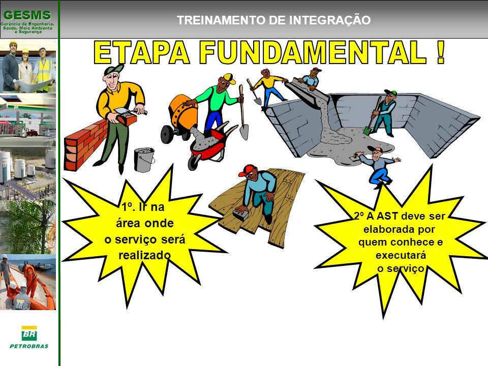 Gerência de Engenharia, Gerência de Engenharia, Saúde, Meio Ambiente e Segurança e Segurança GESMS TREINAMENTO DE INTEGRAÇÃO 1º. Ir na área onde o ser