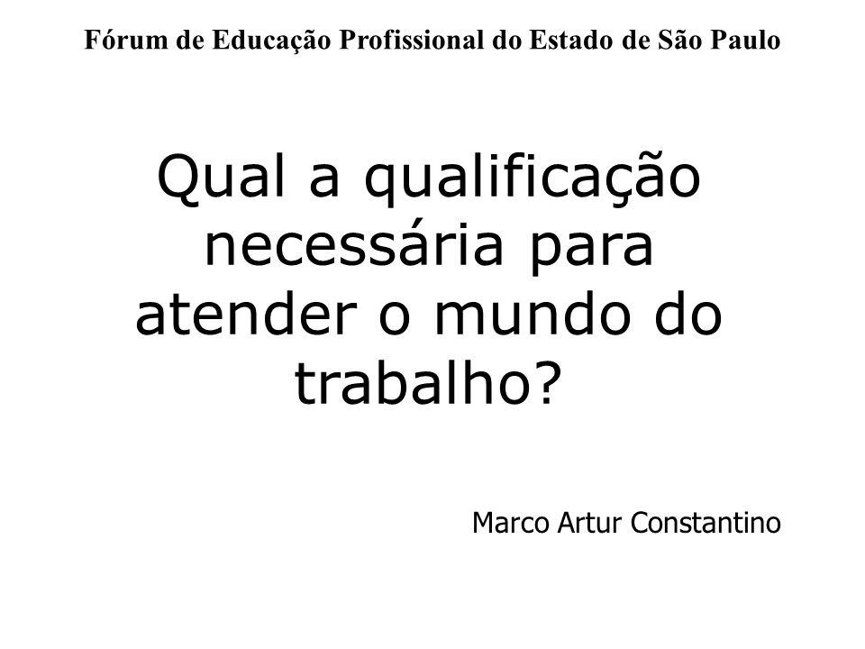 Fórum de Educação Profissional do Estado de São Paulo Qual a qualificação necessária para atender o mundo do trabalho? Marco Artur Constantino