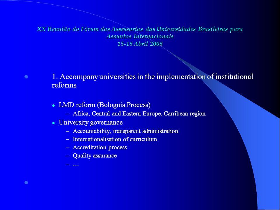 XX Reunião do Fórum das Assessorias das Universidades Brasileiras para Assuntos Internacionais 15-18 Abril 2008 1.