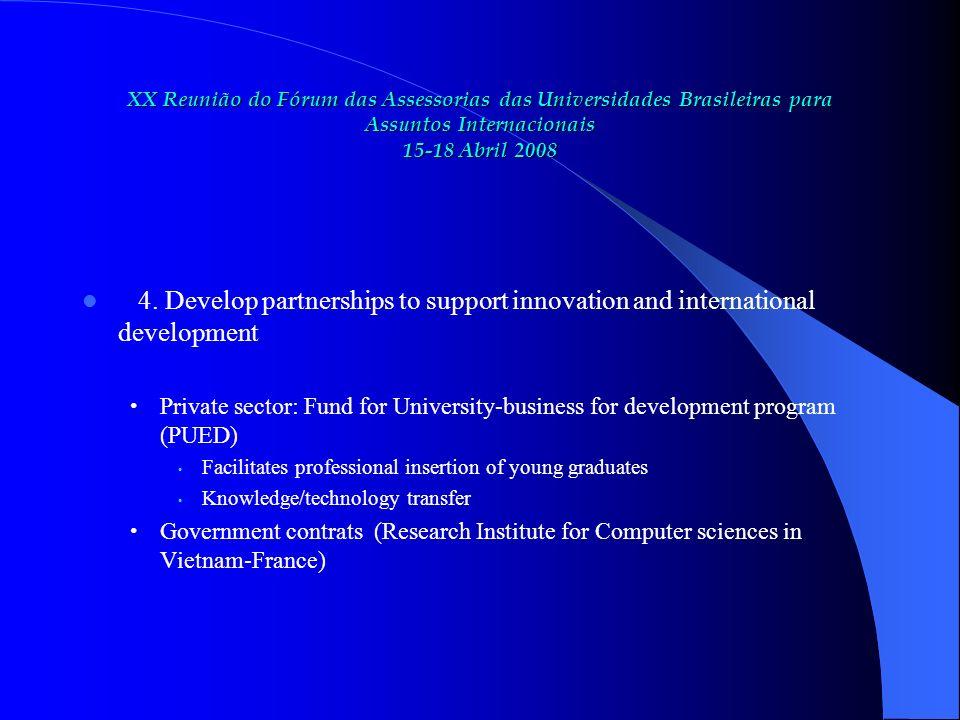 XX Reunião do Fórum das Assessorias das Universidades Brasileiras para Assuntos Internacionais 15-18 Abril 2008 4.