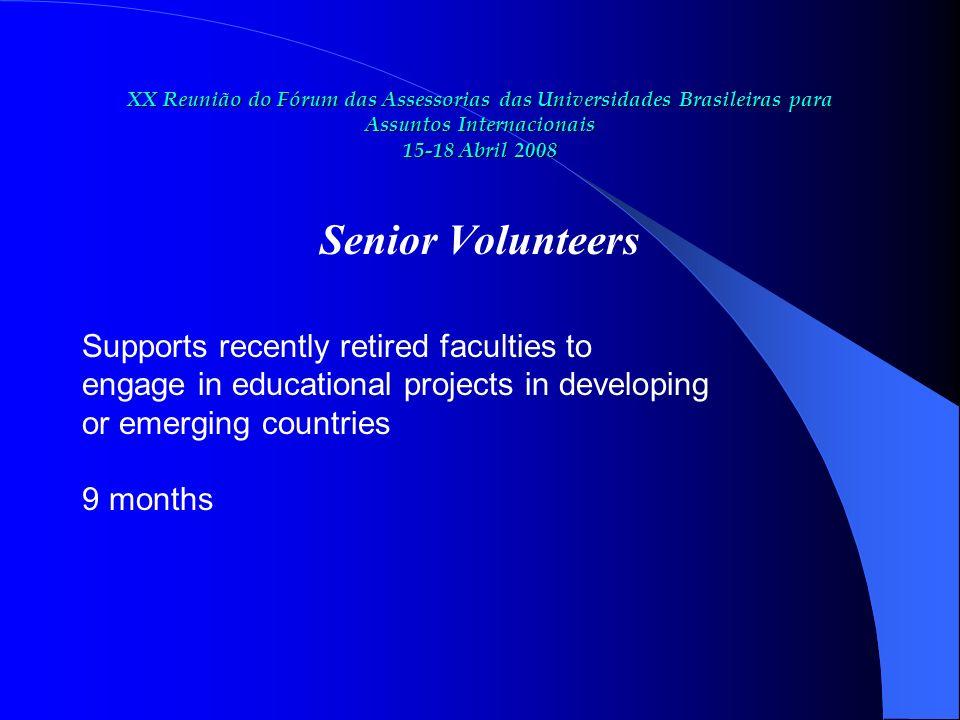 XX Reunião do Fórum das Assessorias das Universidades Brasileiras para Assuntos Internacionais 15-18 Abril 2008 Senior Volunteers Supports recently re