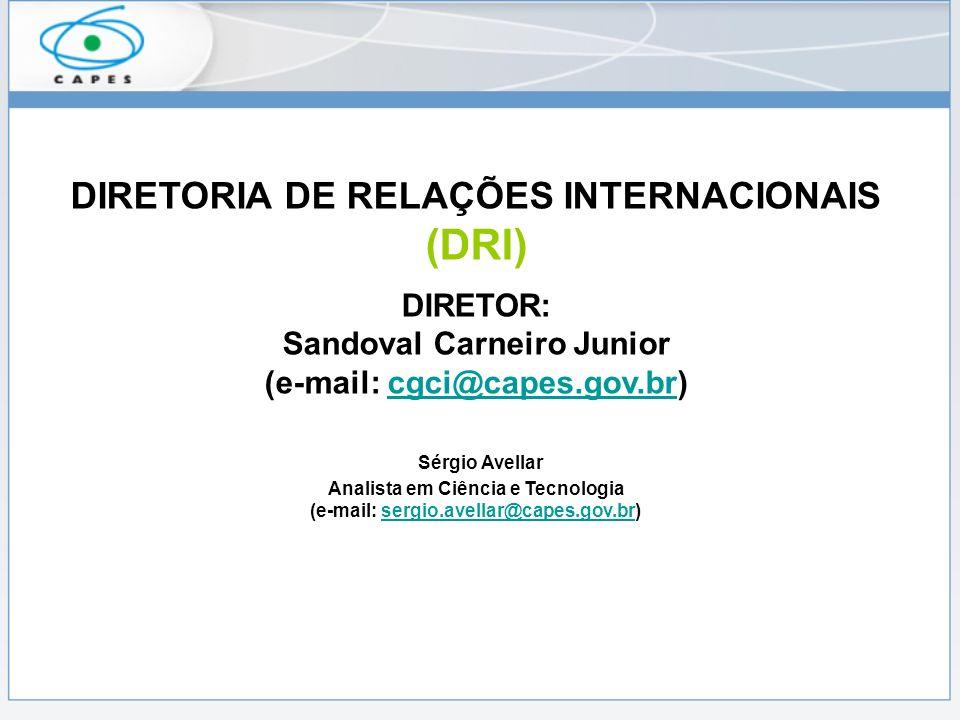 DIRETORIA DE RELAÇÕES INTERNACIONAIS (DRI) DIRETOR: Sandoval Carneiro Junior (e-mail: cgci@capes.gov.br)cgci@capes.gov.br Sérgio Avellar Analista em Ciência e Tecnologia (e-mail: sergio.avellar@capes.gov.br)sergio.avellar@capes.gov.br