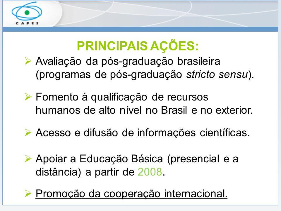 PRINCIPAIS AÇÕES: Avaliação da pós-graduação brasileira (programas de pós-graduação stricto sensu).