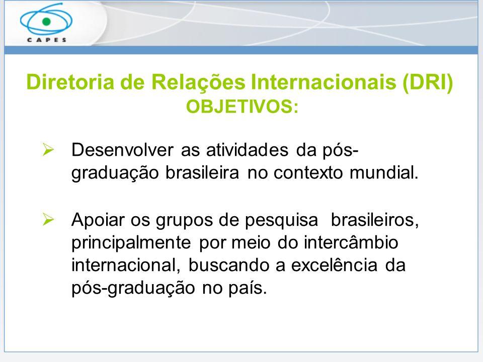 Diretoria de Relações Internacionais (DRI) OBJETIVOS: Desenvolver as atividades da pós- graduação brasileira no contexto mundial.
