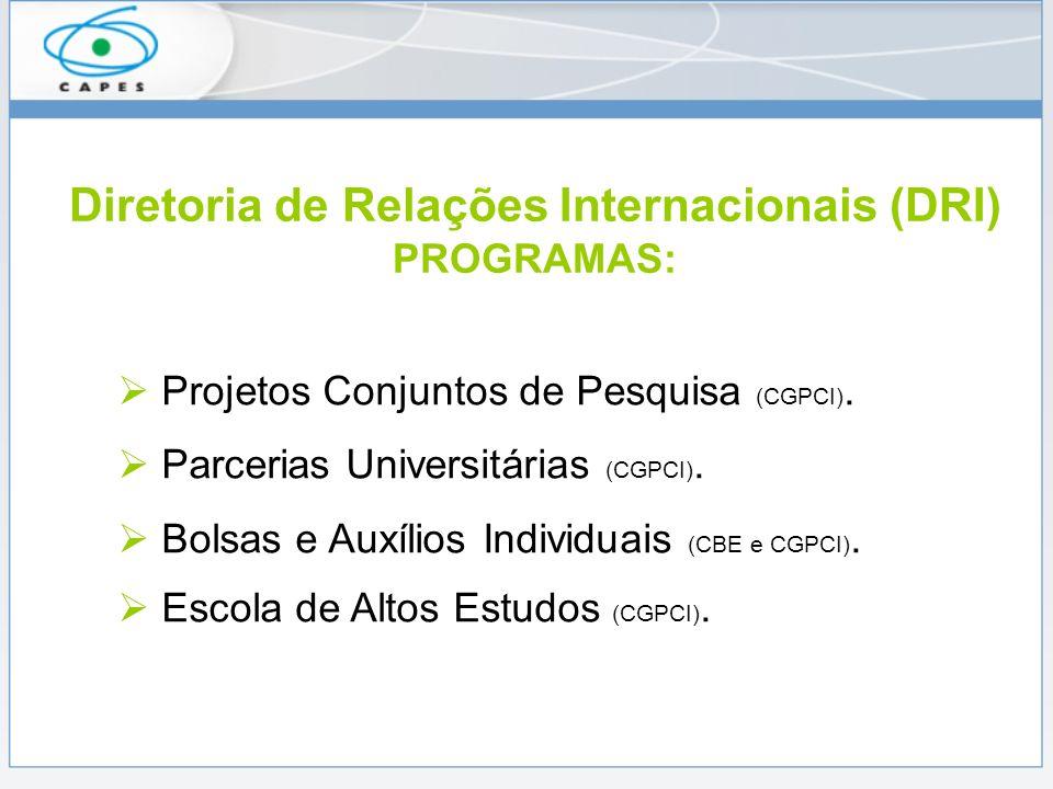 Diretoria de Relações Internacionais (DRI) PROGRAMAS: Projetos Conjuntos de Pesquisa (CGPCI).
