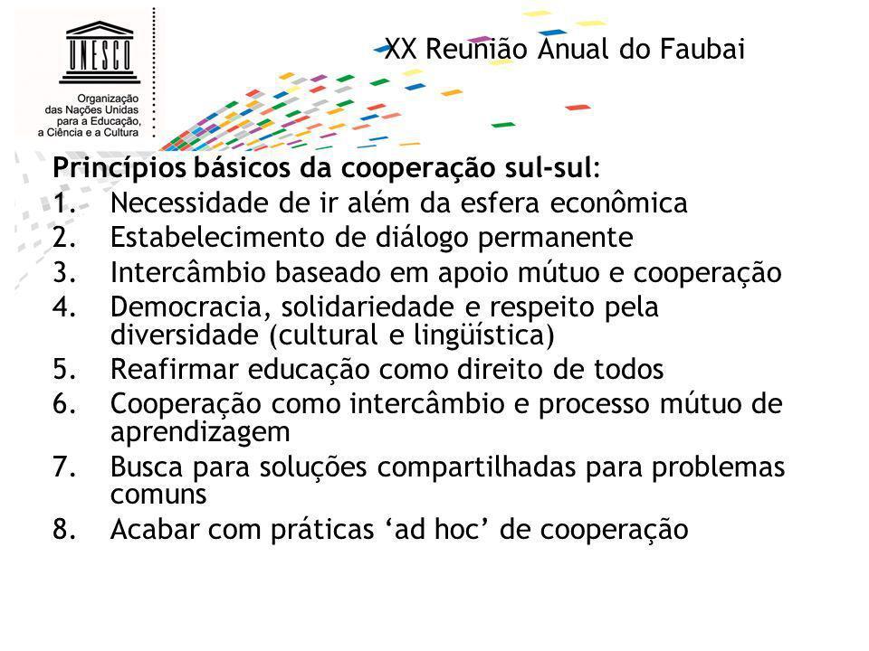 XX Reunião Anual do Faubai Princípios básicos da cooperação sul-sul: 1.Necessidade de ir além da esfera econômica 2.Estabelecimento de diálogo permane