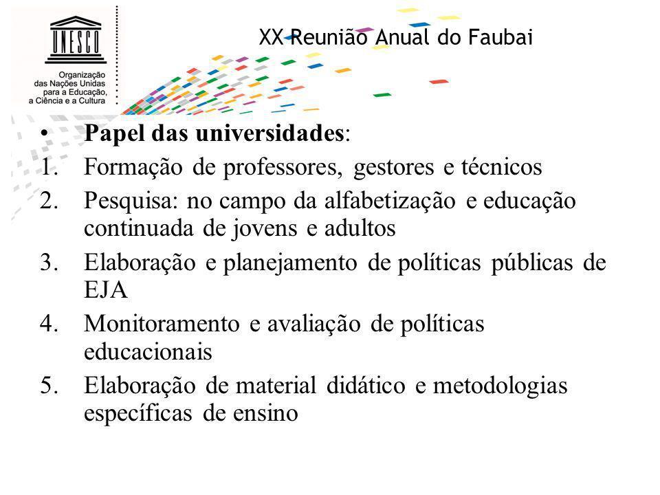 XX Reunião Anual do Faubai Papel das universidades: 1.Formação de professores, gestores e técnicos 2.Pesquisa: no campo da alfabetização e educação co