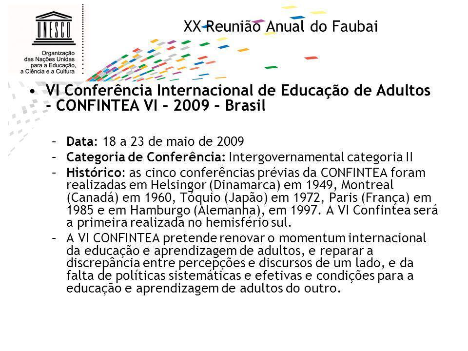 XX Reunião Annual do Faubai Objetivos da Conferência: –Avançar o reconhecimento da aprendizagem e educação de adultos como elemento importante na e fator conducivo para a aprendizagem ao longo da vida, da qual alfabetização é o alicere; –Destacar o papel crucial da aprendizagem e educação de adultos para alcançar as atuais agendas internacionais de educação e desenvolvimento (EFA, MDGs, UNLD, LIFE e DESD); e –Renovar o impulso e compromisso políticos e desenvolver as ferramentas para implementação para que movamos da retórica para ação.