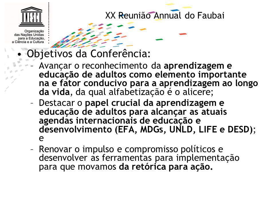 XX Reunião Annual do Faubai Objetivos da Conferência: –Avançar o reconhecimento da aprendizagem e educação de adultos como elemento importante na e fa