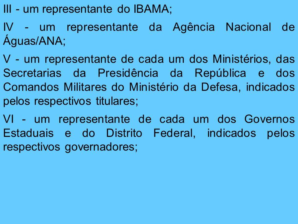 III - um representante do IBAMA; IV - um representante da Agência Nacional de Águas/ANA; V - um representante de cada um dos Ministérios, das Secretar