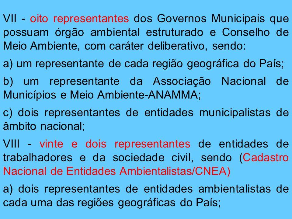 VII - oito representantes dos Governos Municipais que possuam órgão ambiental estruturado e Conselho de Meio Ambiente, com caráter deliberativo, sendo