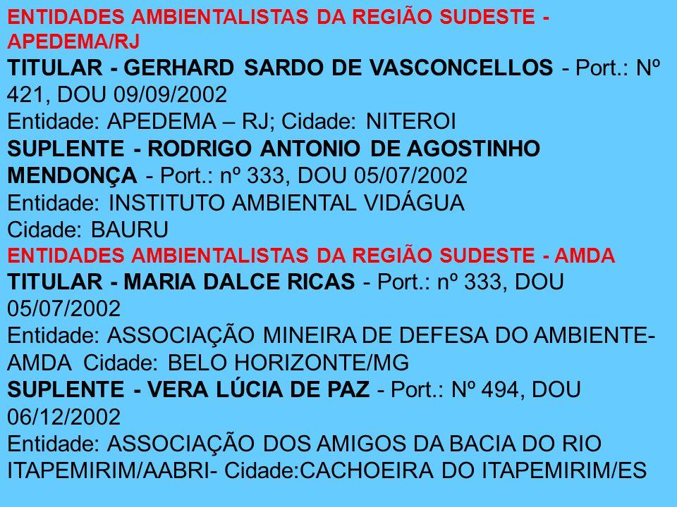 ENTIDADES AMBIENTALISTAS DA REGIÃO SUDESTE - APEDEMA/RJ TITULAR - GERHARD SARDO DE VASCONCELLOS - Port.: Nº 421, DOU 09/09/2002 Entidade: APEDEMA – RJ