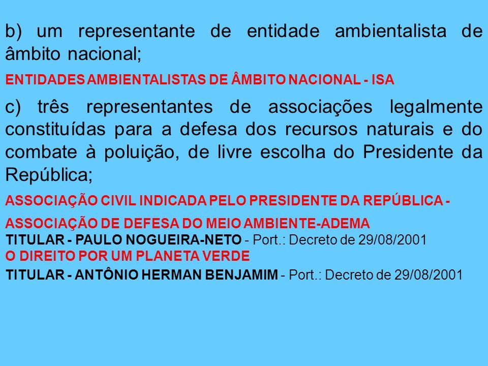 b) um representante de entidade ambientalista de âmbito nacional; ENTIDADES AMBIENTALISTAS DE ÂMBITO NACIONAL - ISA c) três representantes de associaç