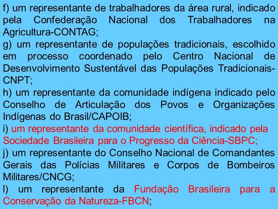 f) um representante de trabalhadores da área rural, indicado pela Confederação Nacional dos Trabalhadores na Agricultura-CONTAG; g) um representante d