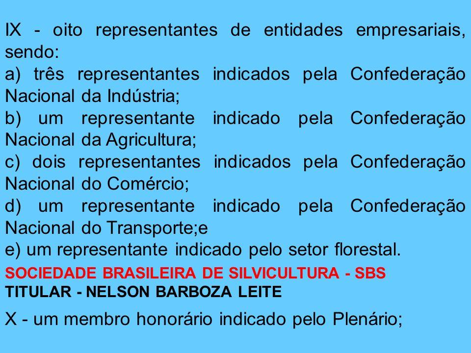 IX - oito representantes de entidades empresariais, sendo: a) três representantes indicados pela Confederação Nacional da Indústria; b) um representan