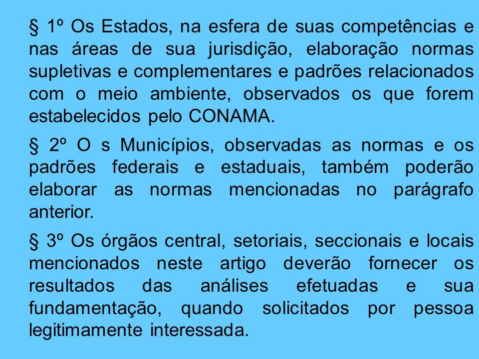 § 1º Os Estados, na esfera de suas competências e nas áreas de sua jurisdição, elaboração normas supletivas e complementares e padrões relacionados co