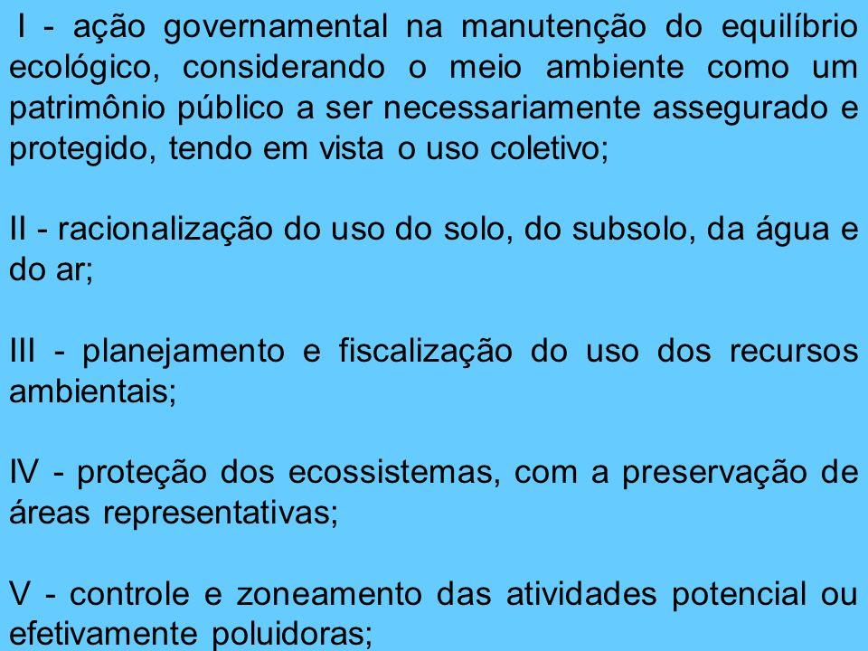 I - ação governamental na manutenção do equilíbrio ecológico, considerando o meio ambiente como um patrimônio público a ser necessariamente assegurado