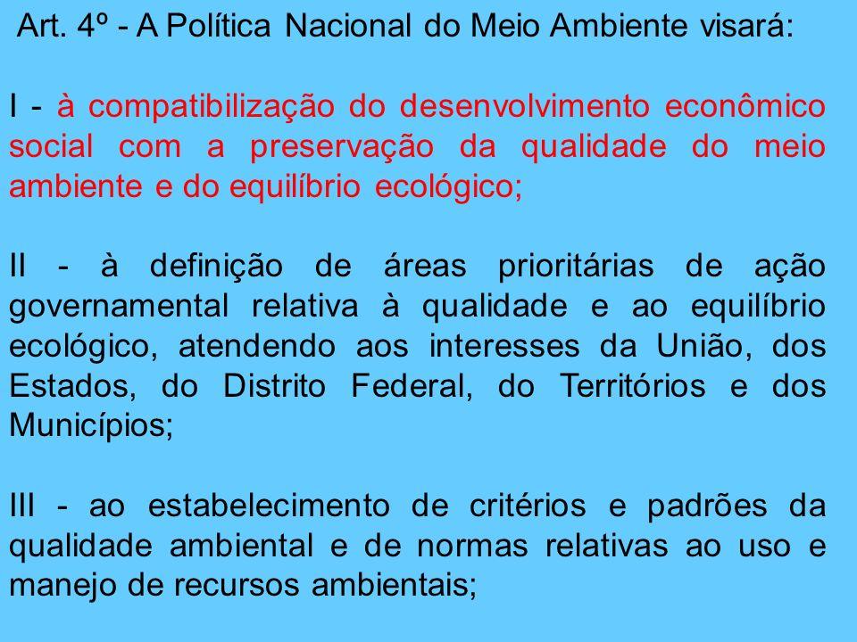 Art. 4º - A Política Nacional do Meio Ambiente visará: I - à compatibilização do desenvolvimento econômico social com a preservação da qualidade do me