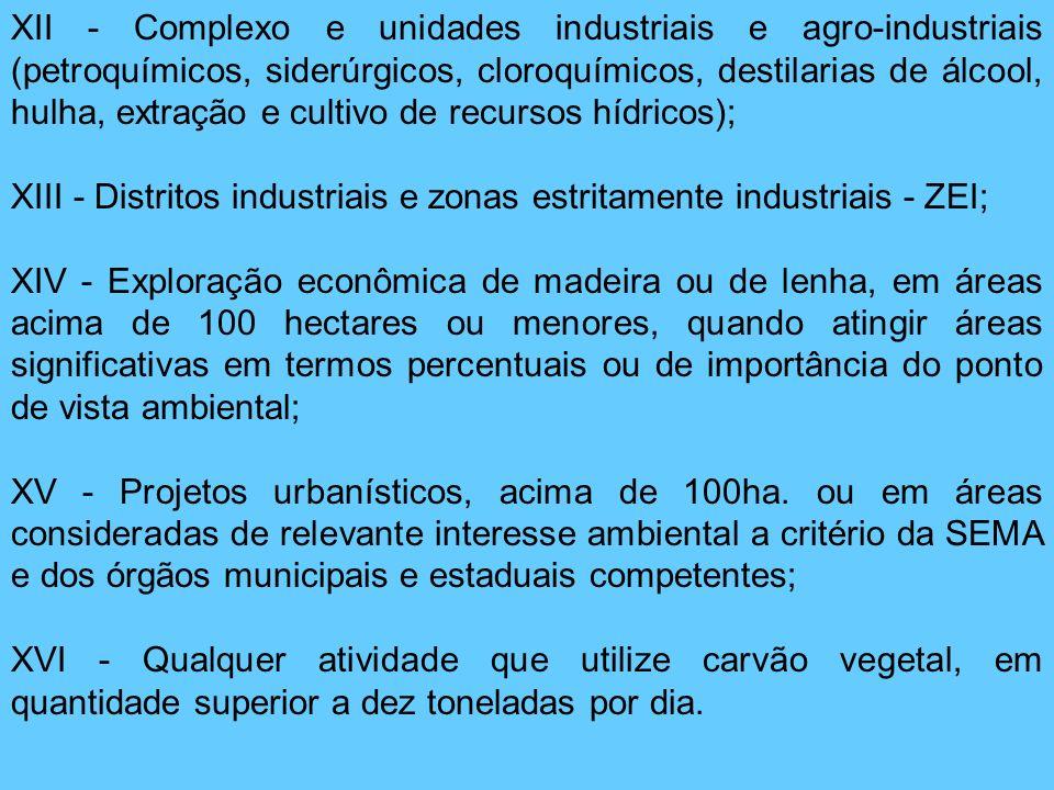 XII - Complexo e unidades industriais e agro-industriais (petroquímicos, siderúrgicos, cloroquímicos, destilarias de álcool, hulha, extração e cultivo