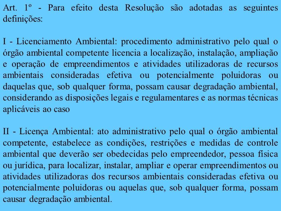 Art. 1º - Para efeito desta Resolução são adotadas as seguintes definições: I - Licenciamento Ambiental: procedimento administrativo pelo qual o órgão