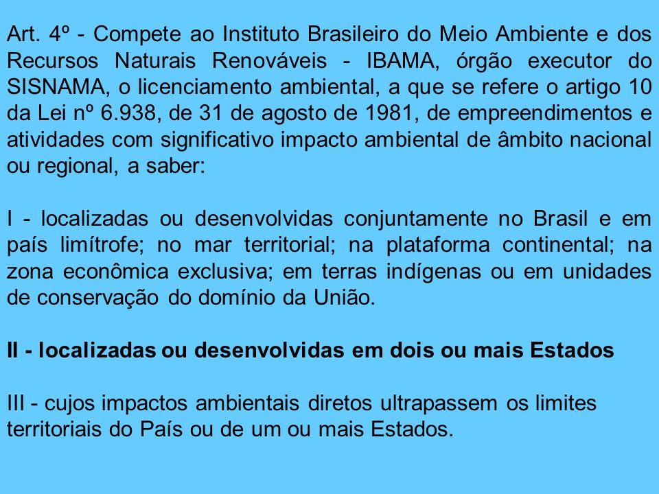 Art. 4º - Compete ao Instituto Brasileiro do Meio Ambiente e dos Recursos Naturais Renováveis - IBAMA, órgão executor do SISNAMA, o licenciamento ambi