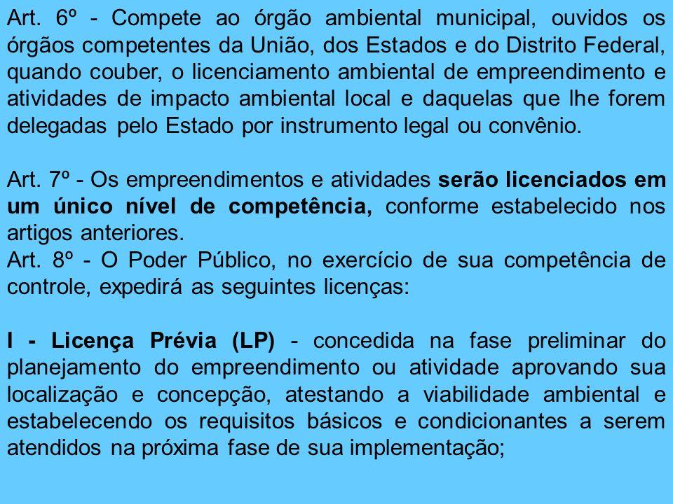 Art. 6º - Compete ao órgão ambiental municipal, ouvidos os órgãos competentes da União, dos Estados e do Distrito Federal, quando couber, o licenciame