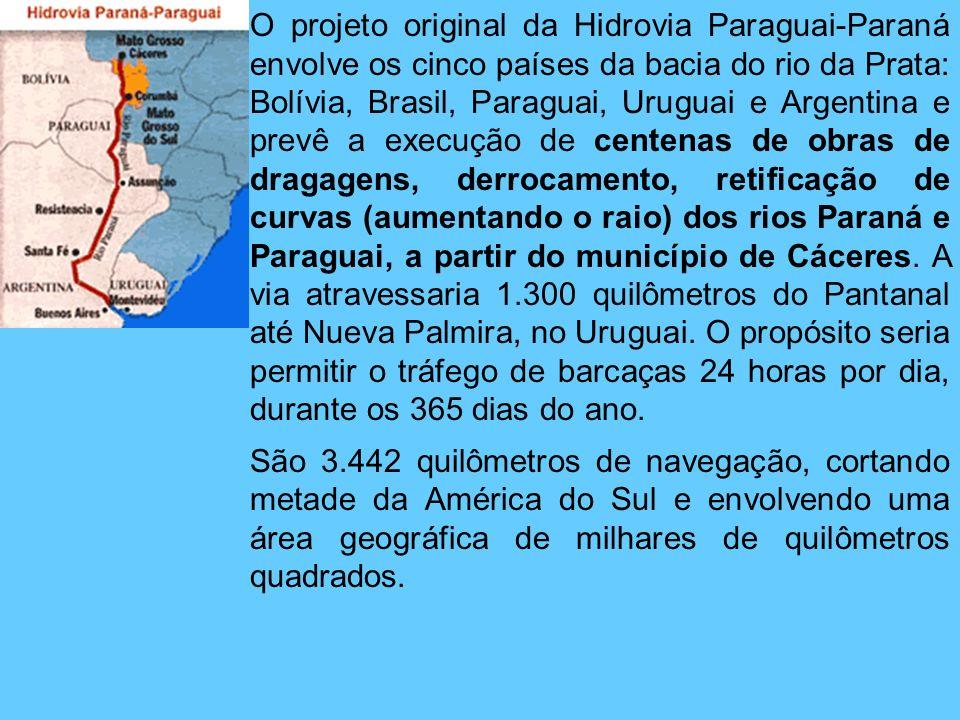 O projeto original da Hidrovia Paraguai-Paraná envolve os cinco países da bacia do rio da Prata: Bolívia, Brasil, Paraguai, Uruguai e Argentina e prev