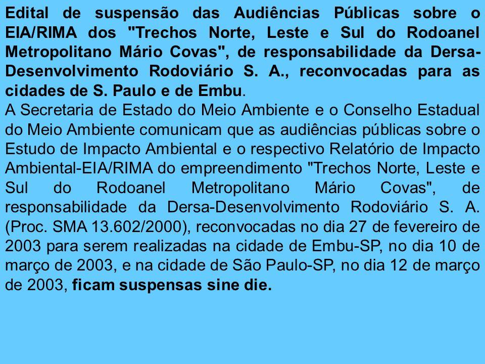 Edital de suspensão das Audiências Públicas sobre o EIA/RIMA dos