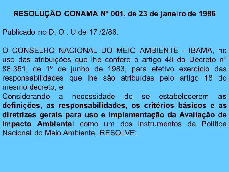 RESOLUÇÃO CONAMA Nº 001, de 23 de janeiro de 1986 Publicado no D. O. U de 17 /2/86. O CONSELHO NACIONAL DO MEIO AMBIENTE - IBAMA, no uso das atribuiçõ