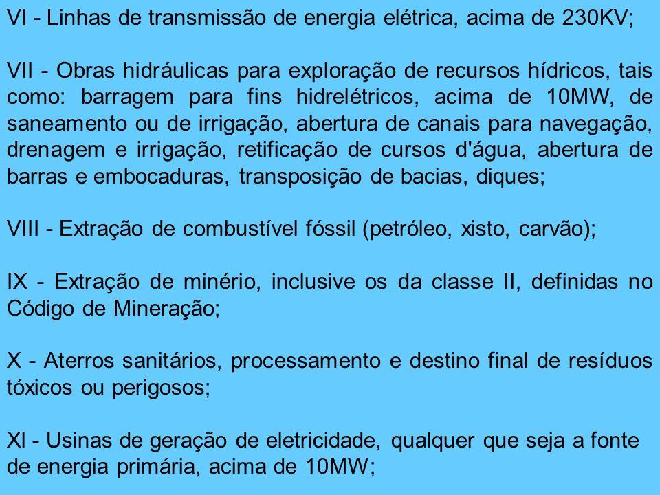 VI - Linhas de transmissão de energia elétrica, acima de 230KV; VII - Obras hidráulicas para exploração de recursos hídricos, tais como: barragem para