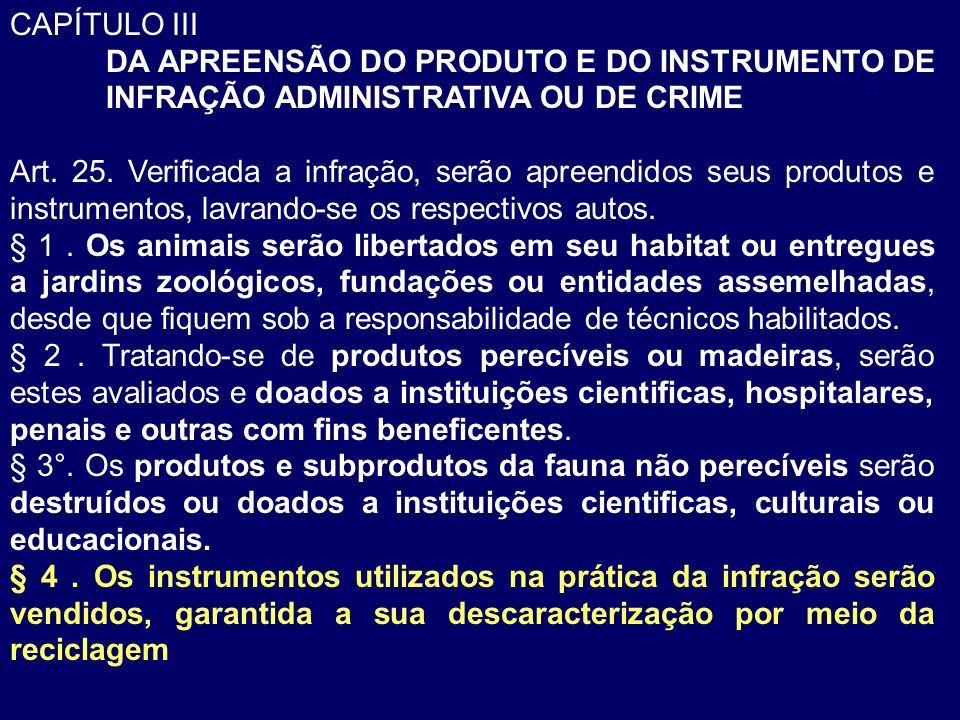CAPÍTULO III DA APREENSÃO DO PRODUTO E DO INSTRUMENTO DE INFRAÇÃO ADMINISTRATIVA OU DE CRIME Art. 25. Verificada a infração, serão apreendidos seus pr