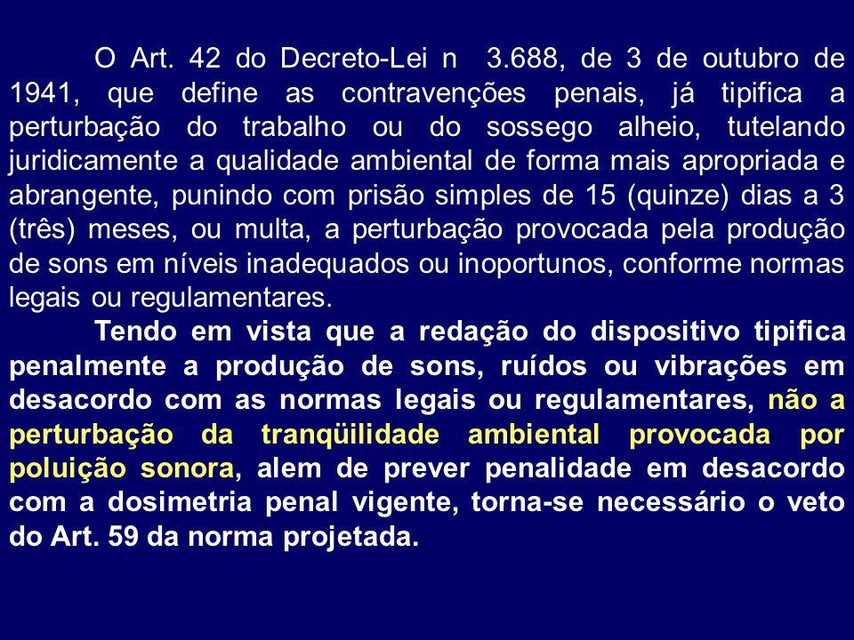 O Art. 42 do Decreto-Lei n 3.688, de 3 de outubro de 1941, que define as contravenções penais, já tipifica a perturbação do trabalho ou do sossego alh