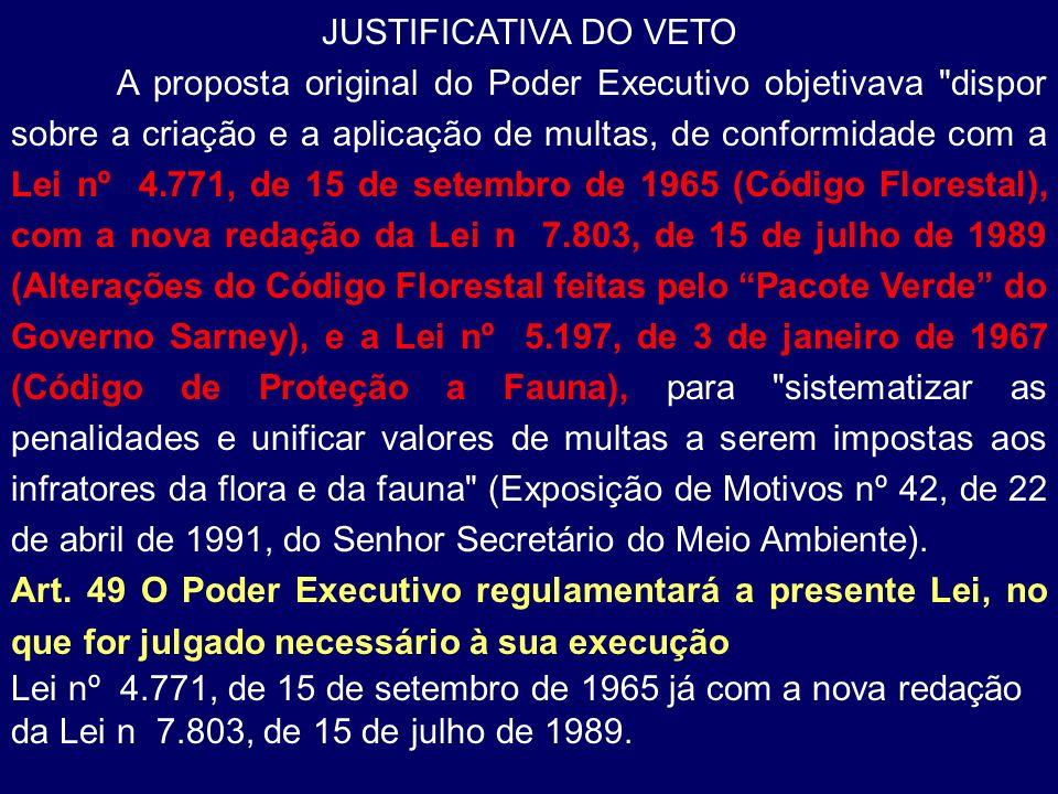 JUSTIFICATIVA DO VETO A proposta original do Poder Executivo objetivava