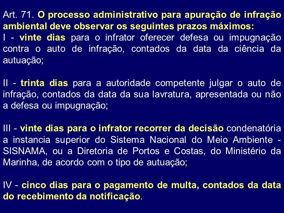 Art. 71. O processo administrativo para apuração de infração ambiental deve observar os seguintes prazos máximos: I - vinte dias para o infrator ofere
