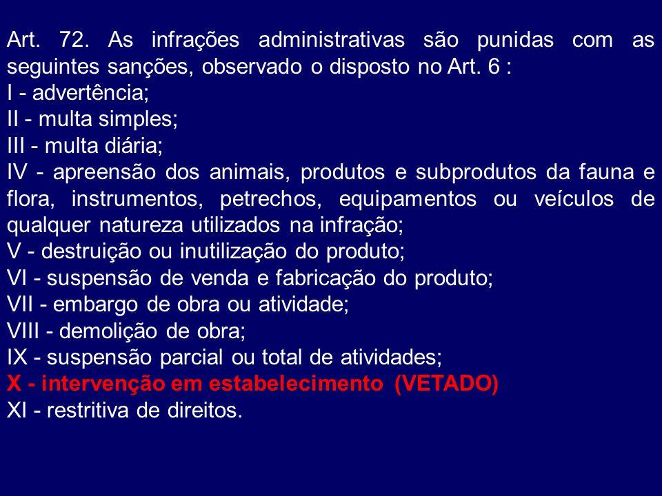 Art. 72. As infrações administrativas são punidas com as seguintes sanções, observado o disposto no Art. 6 : I - advertência; II - multa simples; III