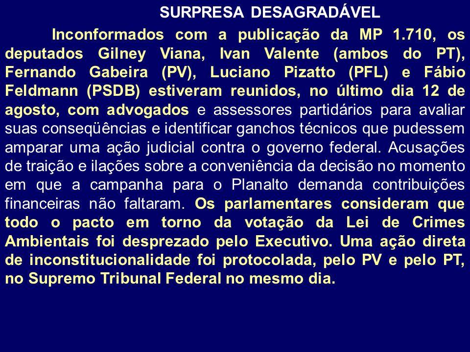 SURPRESA DESAGRADÁVEL Inconformados com a publicação da MP 1.710, os deputados Gilney Viana, Ivan Valente (ambos do PT), Fernando Gabeira (PV), Lucian