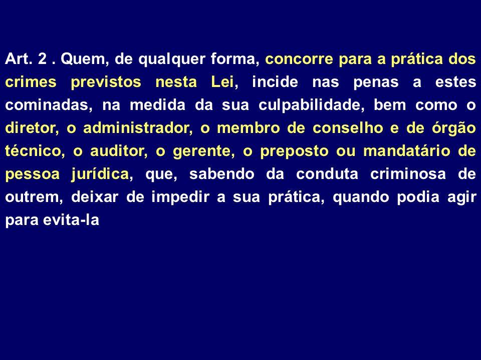 Art. 2. Quem, de qualquer forma, concorre para a prática dos crimes previstos nesta Lei, incide nas penas a estes cominadas, na medida da sua culpabil
