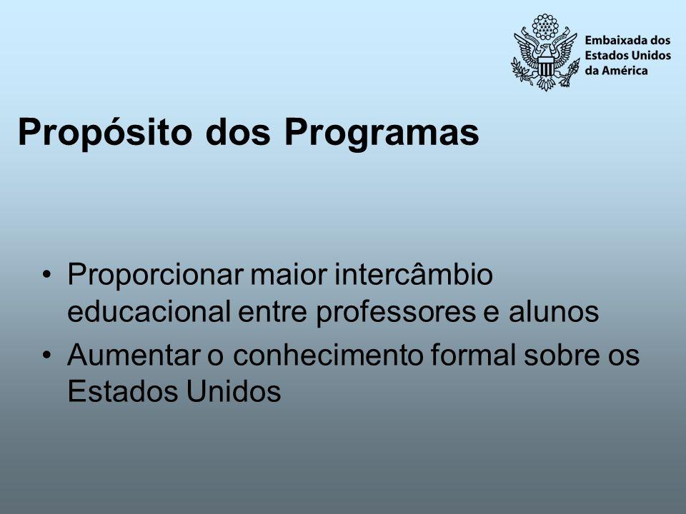 Propósito dos Programas Proporcionar maior intercâmbio educacional entre professores e alunos Aumentar o conhecimento formal sobre os Estados Unidos