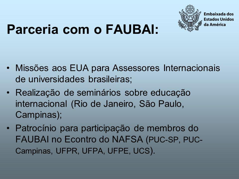 Parceria com o FAUBAI: Missões aos EUA para Assessores Internacionais de universidades brasileiras; Realização de seminários sobre educação internacio