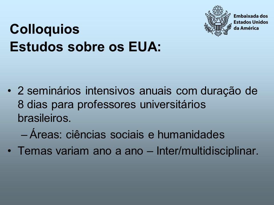 Colloquios Estudos sobre os EUA: 2 seminários intensivos anuais com duração de 8 dias para professores universitários brasileiros. –Áreas: ciências so