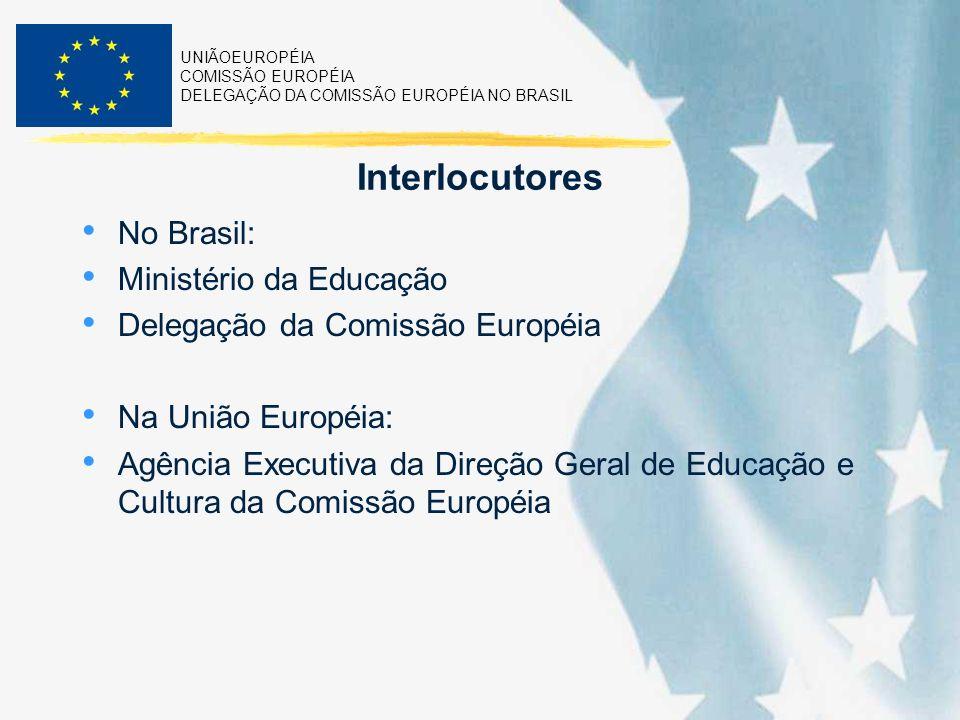 UNIÃOEUROPÉIA COMISSÃO EUROPÉIA DELEGAÇÃO DA COMISSÃO EUROPÉIA NO BRASIL Interlocutores No Brasil: Ministério da Educação Delegação da Comissão Europé