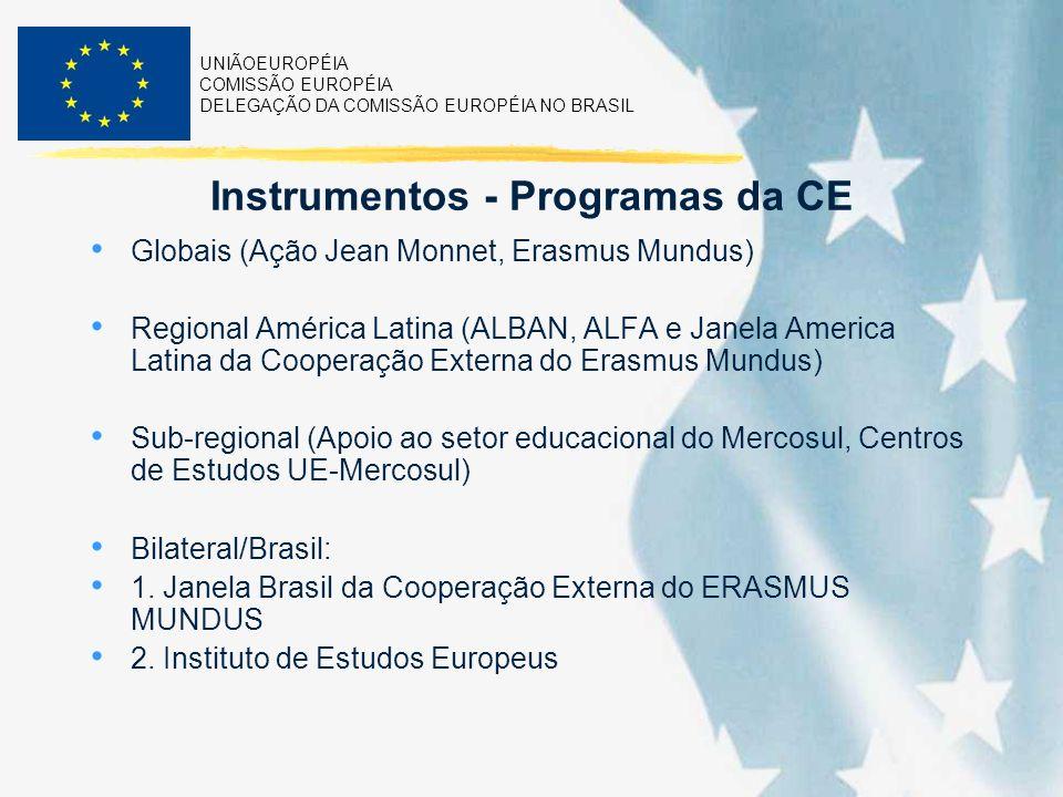 UNIÃOEUROPÉIA COMISSÃO EUROPÉIA DELEGAÇÃO DA COMISSÃO EUROPÉIA NO BRASIL Instrumentos - Programas da CE Globais (Ação Jean Monnet, Erasmus Mundus) Regional América Latina (ALBAN, ALFA e Janela America Latina da Cooperação Externa do Erasmus Mundus) Sub-regional (Apoio ao setor educacional do Mercosul, Centros de Estudos UE-Mercosul) Bilateral/Brasil: 1.