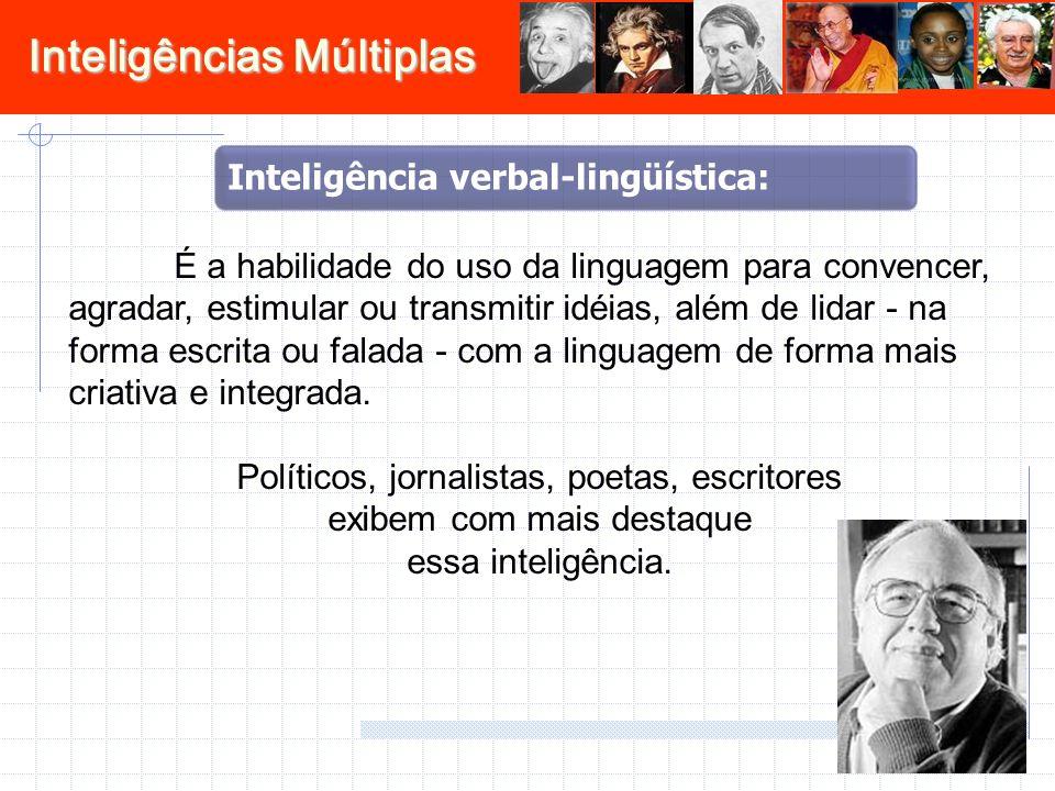 Inteligências Múltiplas É a habilidade do uso da linguagem para convencer, agradar, estimular ou transmitir idéias, além de lidar - na forma escrita o