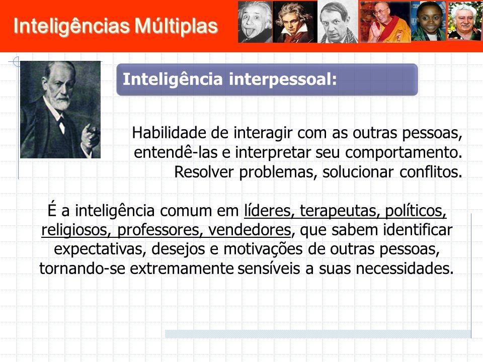 Inteligências Múltiplas Habilidade de interagir com as outras pessoas, entendê-las e interpretar seu comportamento. Resolver problemas, solucionar con