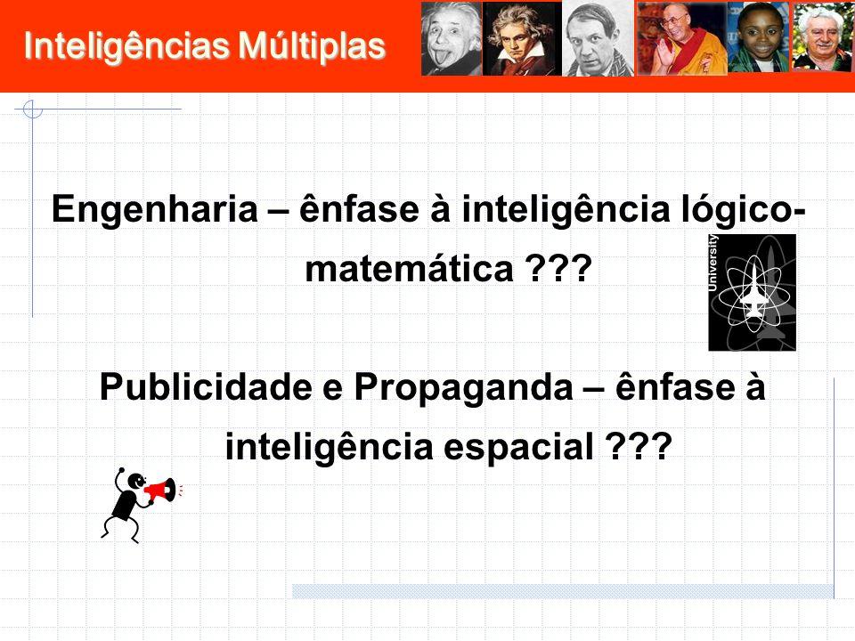Inteligências Múltiplas Engenharia – ênfase à inteligência lógico- matemática ??? Publicidade e Propaganda – ênfase à inteligência espacial ???