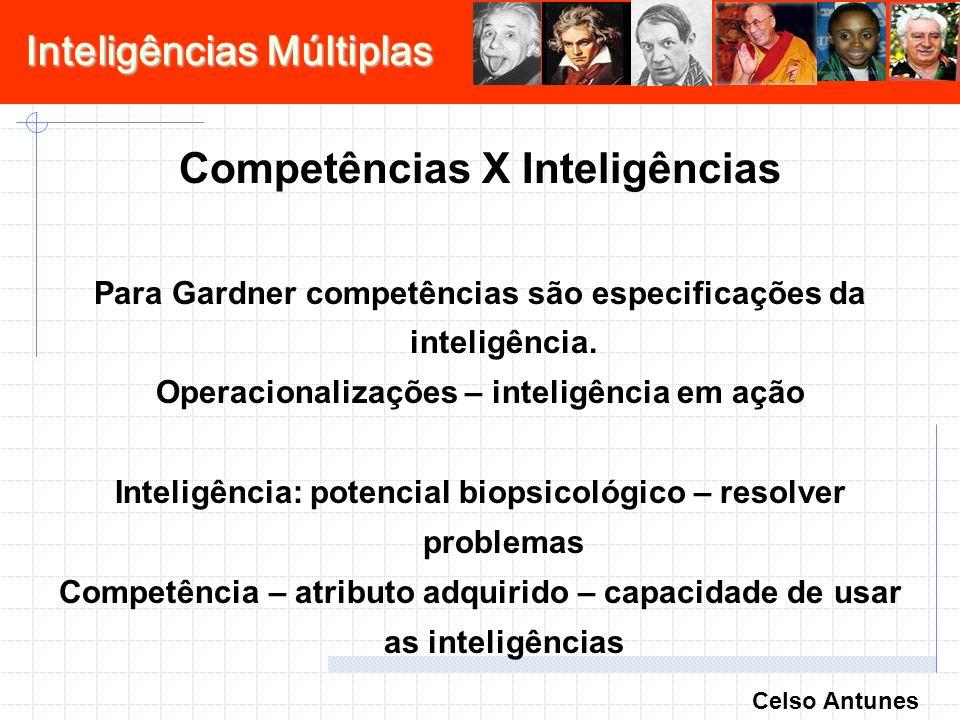 Inteligências Múltiplas Competências X Inteligências Para Gardner competências são especificações da inteligência. Operacionalizações – inteligência e