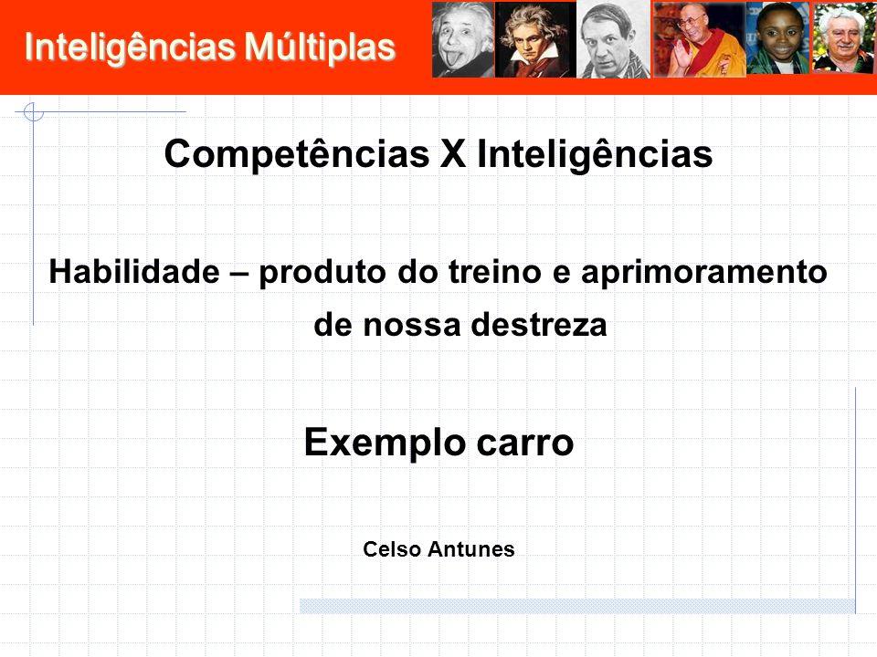 Inteligências Múltiplas Competências X Inteligências Habilidade – produto do treino e aprimoramento de nossa destreza Exemplo carro Celso Antunes