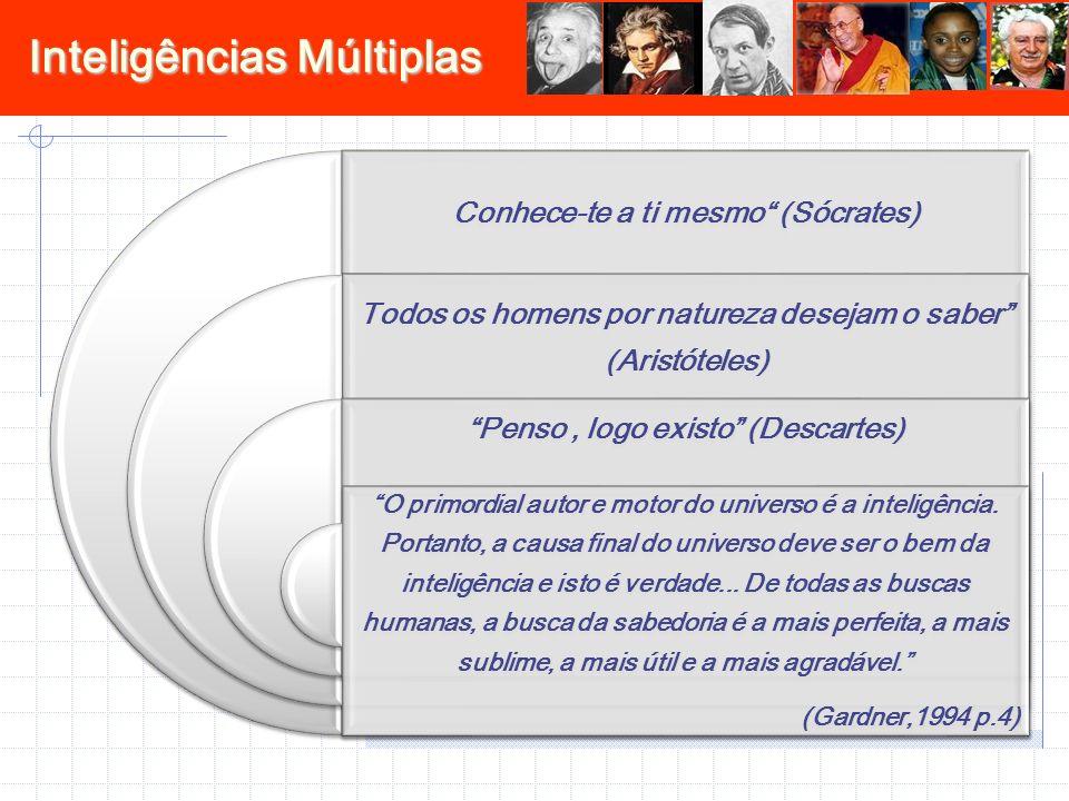 Inteligências Múltiplas Conhece-te a ti mesmo (Sócrates) Todos os homens por natureza desejam o saber (Aristóteles) Penso, logo existo (Descartes) O p